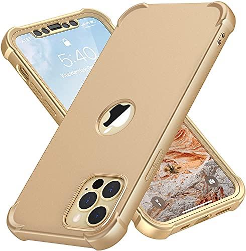 """ORETECH Funda Silicona Carcasa para iPhone 12 Pro MAX 6.7"""", con [2X Protector de Pantalla Vidrio Cristal Templado] 360 Anti-Arañazos Bumper de Protección Case TPU PC Caso para iPhone 12 Pro MAX - Oro"""