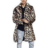 OHQ Hombres Leopardo CáLido Abrigo De Cuello De Piel Gruesa Chaqueta De Piel SintéTica Parka Outwear Cardigan Sudadera Tops Camisa Abrigo Ropa