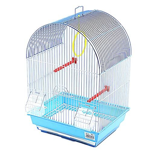 Jaula para pájaros con comederos, Palos y Columpios Jaulas pájaros casa ave34.5X28X49.5CM (Azul)
