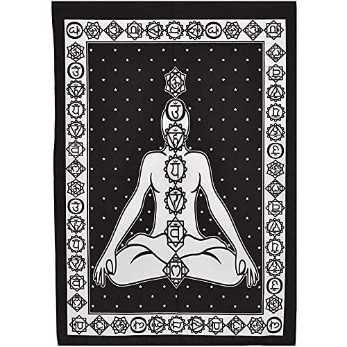 QSCV Tapiz De Pared Colorato Etnicos Tapices,Hippie Mandala Tapices Arte De Pared para Estudio De Yoga,Indio Siete Chakras Meditación Tapices-Blanco/Negro 60'x80'