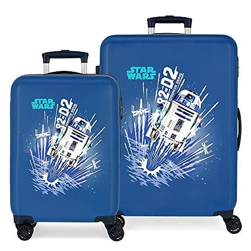 Star Wars Droids Juego de Maletas Azul 55/68 cms Rígida ABS Cierre de combinación Lateral 104 6 kgs 4 Ruedas Dobles Equipaje de Mano