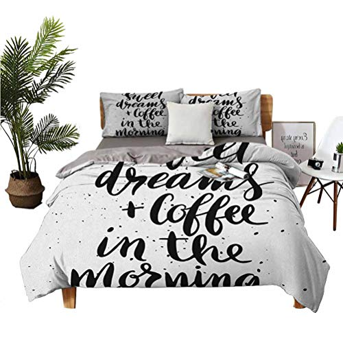 LANQIAO Duvet Cover Sweet Dreams and Coffee in The Morning Hand Drawn Text Paint Splashes,Teenage boy Present 68x86 inch