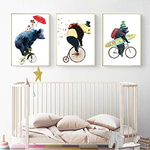 nobrand Kawaii dieren op fiets cartoon canvas schilderij kinderkamer Nordic poster print muurkunst schilderijen voor kinderkamer Home Decor No Frame-40x50cmX3