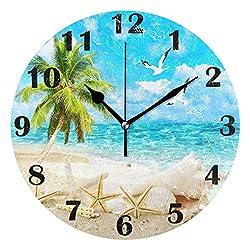 Pfrewn Summer Beach Seashell Starfish Wall Clock Silent Non Ticking Tropical Palm Tree Clocks Battery Operated Vintage Desk Clock 10 Inch Quartz Analog Quiet Bedroom Living Room Home Decor