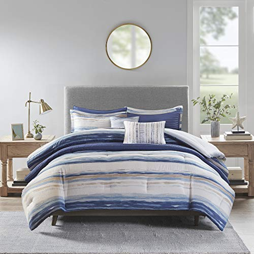 Madison Park Marina 8 Piece Printed Seersucker Comforter and Coverlet Set Collection Blue Cal King