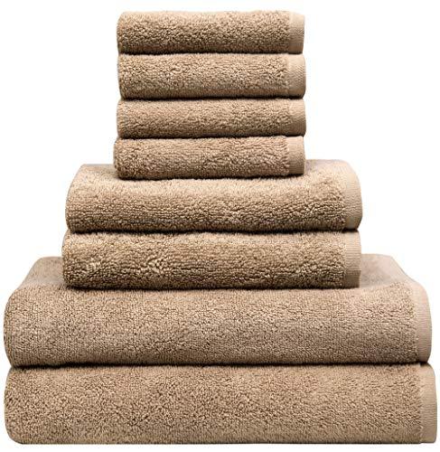 Pleasant Home - Juego de 8 toallas de baño, 100% algodón, 500 g/m², uso profesional para hoteles, hospitalidad, spas, salones, ligeros, duraderos (bronceado)