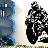 Gran Jorge Lorenzo Moto Racer Etiqueta de la Pared Oficina Niños Habitación 99 Motocicleta Motor Bicicleta Calcomanía de Pared Sala de Juegos Vinilo Decoración 105cmx56cm