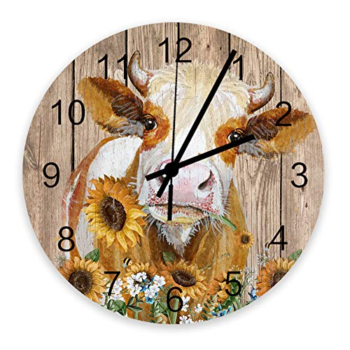 12 Inch Wooden Wall Clock Sunflowers Bees and Cow on Wooden Texture Silent Quarts Decorative Round Wall Clock Battery Operated for Home, Office, Living Room