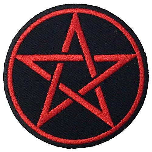 Smbolos paganos gticos Pentagrama Parche Bordado de Aplicacin con Plancha