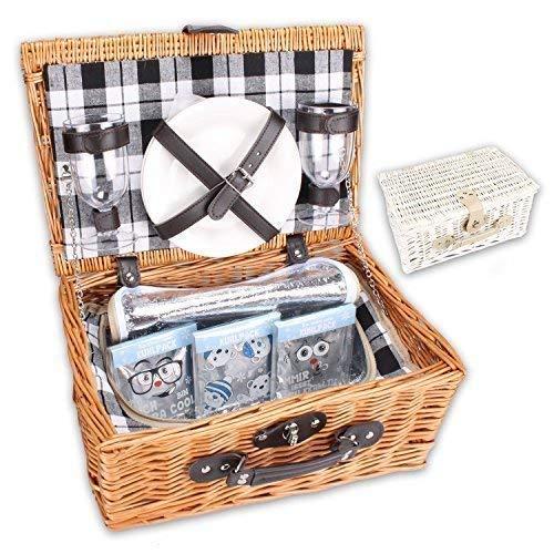 WOP ART Picknickkorb PickPack mit Kühlfach, Kühlpacks und Geschirr in weiß oder braun (braun)