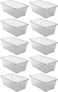 Life Story 6 Quart Clear Shoe Storage Box Stacking Container with Lid, 10 Pack