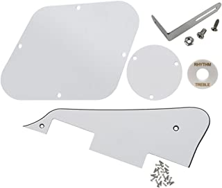 FLEOR 3Ply White Guitar Pickguard Scratch Plate Back Plate Guitar Screws Set & Toggle Switch Plate(White) & Silver Bracket Fit Gibson Les Paul Pickguard Replacement
