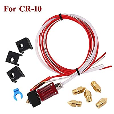 Tresbro Assembled MK10 Extruder Hot End Kit Original Replacement Parts for Creality CR-10 3D Printer, 1.75mm Filament, 0.4mm Nozzle,12V 40W