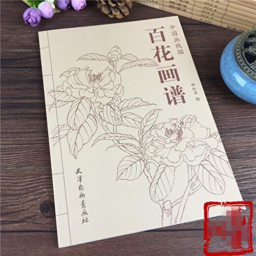 WellieSTR 94Pages Pittura Cinese Cento Fiori Linea Disegno Collezione Libro Arte Libro Da Colorare Adulti Rilassamento e Antistress Libro