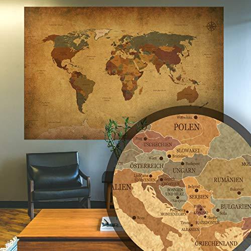 BilderKing Alte Retro Weltkarte antik als XXL Wand-Poster in Deutsch 140x100 groß im Vintage Used Look - Perfekte Großformat Deko für die Wand als Atlas Map Geograpfie Weltkugel mit Kompass