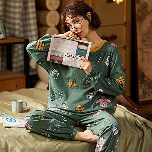 Wenhua Pajama Sets Mujer, Pijama de Estudiante de algodón Lindo y Suelto,...