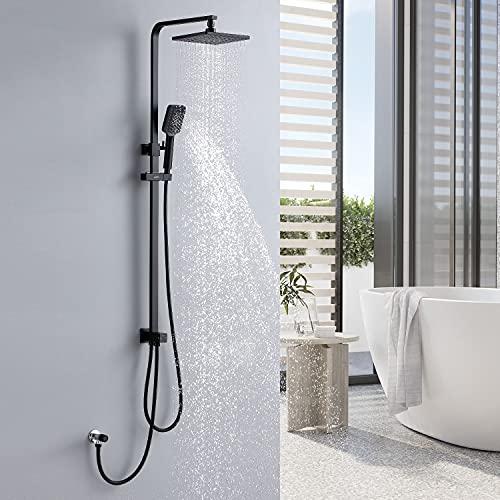 Lonheo Columna de ducha cuadrada negro sin grifo,Sistema de ducha regulable en altura (82,5cm - 122,5cm), Set de ducha con rociador y teleducha