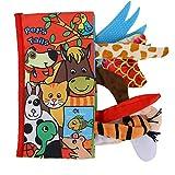 Tnfeeon Libro di Stoffa per Bambini in Tessuto Morbido, Educazione Precoce Giocattolo di Stoffa Coda di Libri Sensoriali Apprendimento Scoperta Regalo Anti-Strappo del Libro(Cucciolo)