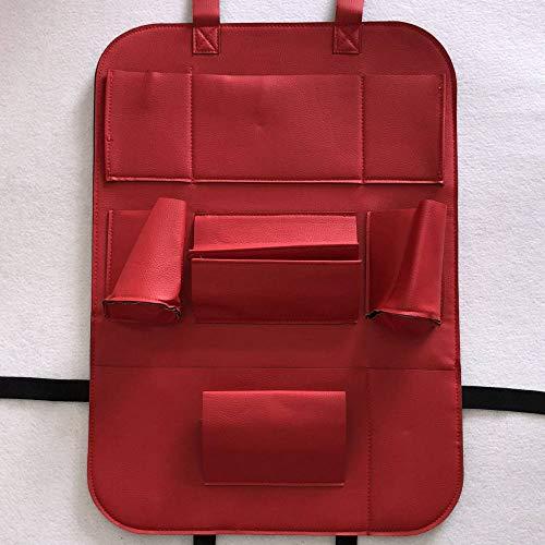 WSKIRNL 2Pcs Auto Rückenlehnenschutz,Auto Organizer Tasche Rot Sitz Hängende Tasche Tasche Leder Klappstuhl Gesäßtasche Kick Matten Autositz Rückenprotektor