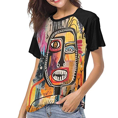 MSOhuSIJWx Women's Jean Michel Basquiat Short Sleeve Baseball Tee Shirt Black