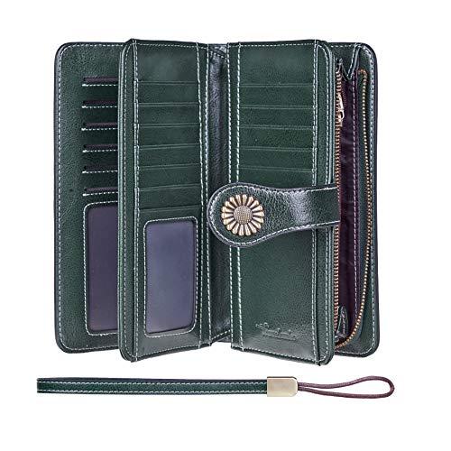 Travelambo Womens Large Capacity RFID Blocking Genuine Leather Wallets(Green)