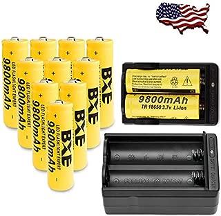 10X BXE 18650 Battery 9800mAh Li-ion 3.7V Rechargeable Batteries + 2X Smart Charger