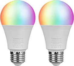 LED Smart Light Bulb, E26 WiFi Light Bulb Works with Amazon Alexa Google Home and IFTTT, RGBCW Color Changing, 2700K to 6500K Dimmable, No Hub Required, A19 60W Equivalent (2 Pack)