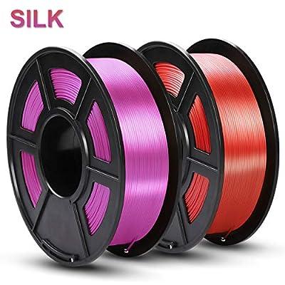SUNLU Silk PLA Filament 1.75mm, 3D Printer Filament Silk, Silky Shiny Filament PLA for 3D Printers and Pens, 2kg(4.4Lbs)/Spool, Silk Purple+Red