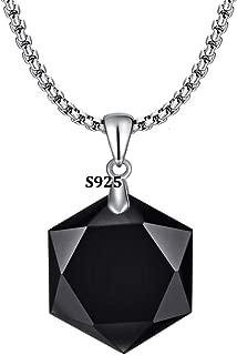 OCARLY 925 Black Obsidian/Blue Sandstone Star of David Pendant Hexagram Amulet Gemstone Stainless Steel Titanium Necklace Jewish Religious Jewelry