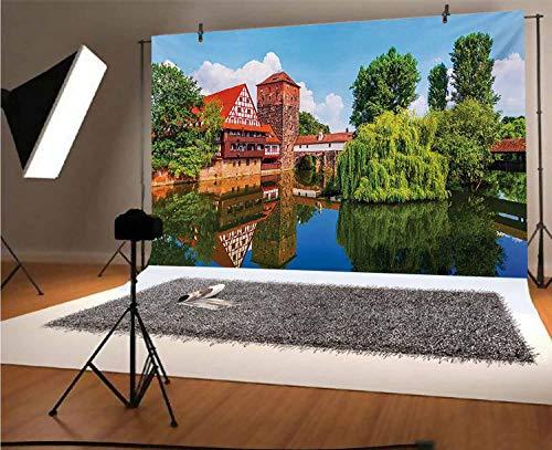 Paisaje de 20 cm x 15 cm, fondo de vinilo para fotos escénico de verano, tradicional alemán, medieval, medio puente de madera, fondo de la ciudad del río para la ducha del bebé, estudio de fotos
