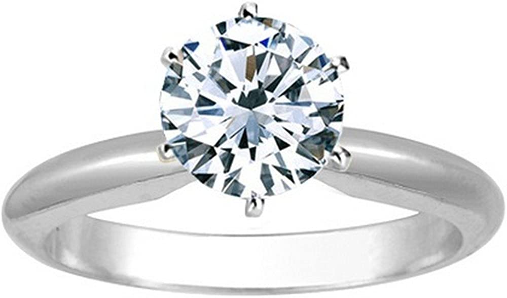 2/3 Carat Round Cut Diamond Solitaire Engagement Ring 14K White Gold 6 Prong (H-I, I2, 0.6 c.t.w) Very Good Cut