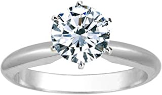 1/4-2 Carat Round Solitaire 14K White Gold Diamond Engagement Ring