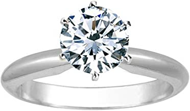 1 Ct Round Cut 6 Prong Solitaire Diamond Engagement Ring 14K White Gold (G Color VS1 Clarity)