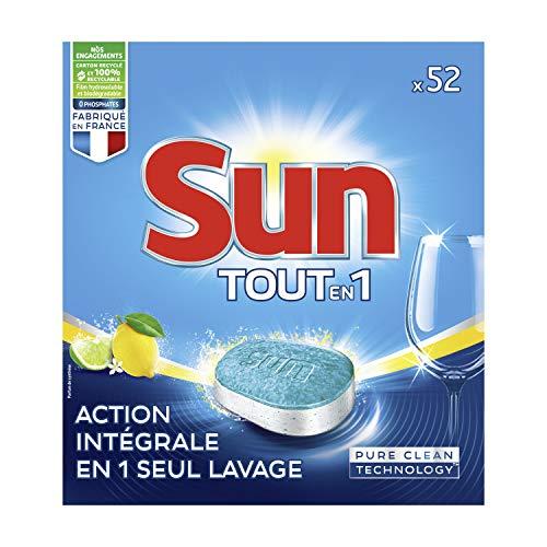 Sun - Pastillas para lavavajillas todo en 1, 52 pastillas de 4 meses de lavado, color lima