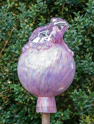 ELIAS Glashütte Original Rosenkugel Flair Frosch auf Kugel 12 cm Wildrose verspiegelt