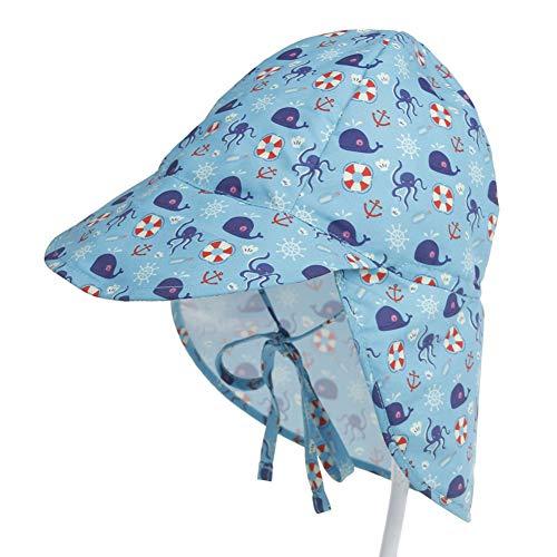 Baby Sonnenhut Jungen Mädchen Sonnenhut Anti-UV Schutz Hut Sommerhut mit Bindebändern und Nackenschutz Sommermütze für das Schwimmen im Freien, Reisen, Beach Play, Summer