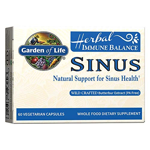Garden of Life Natural Sinus Support - Herbal Immune Balance Sinus with Enzyme Blend, Vegetarian, 60 Capsule