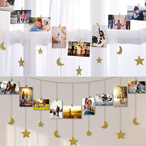 IMIKEYA Hanging Photo Display Wood Star Moon Garland with Chains Picture Frame Collage with 30 Wood Clips Photo Wall Display for Home Office Nursery Room Dorm Living Room Wall Art Decoration, Gold