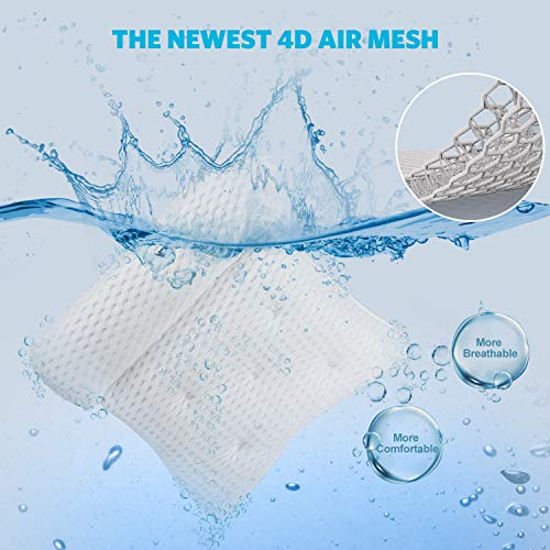 Tomight Bath Pillow,4D Air Mesh Luxury Bathtub Pillow with 7 Suction Cups, Support Head, Back, Shoulder and Neck, for All Bathtub, Hot Tub, Jacuzzi and Home Spa-White