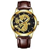 Reloj para Hombre, Elegante, Minimalista, de Cuarzo, Acero Inoxidable, Relojes a Prueba de Agua -C