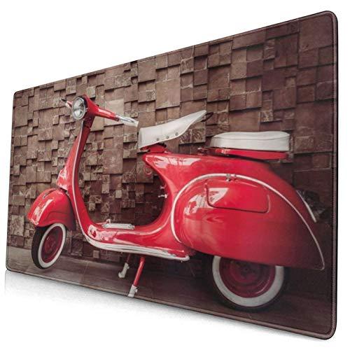 LASINSU Alfombrilla Gaming,Motocicleta Retro Vintage Scooter nostálgico Frente a la Pared Tráfico de vehículos Foto de la Ciudad,con Base de Goma Antideslizante,750×400×3mm