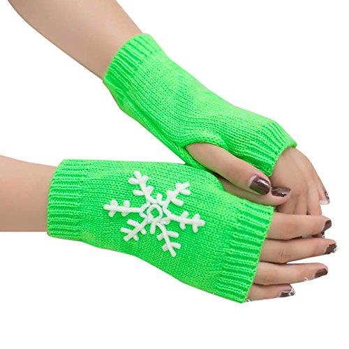 LoveLeiter Damen Schneeflocke Stricken Halbe Fingerhandschuhe Handschuhe Frau Fingerless Dehnbar Armlinge Winter WäRmer Strick Gestricktes Fingerlose Armstulpen Kaschmir Wrist Arm(Grün,freie Größe)
