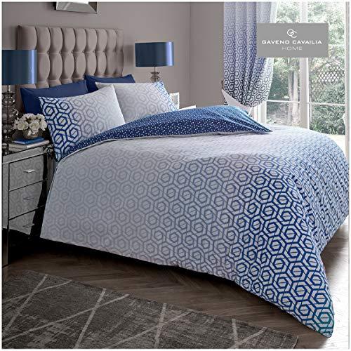 Gaveno Cavailia Geometric Shape Design Duvet Cover Quilt Set With Pillow Case, Reversible, Poly Cotton, Ohari Ombre Navy, Double Size Bedding, Polycotton