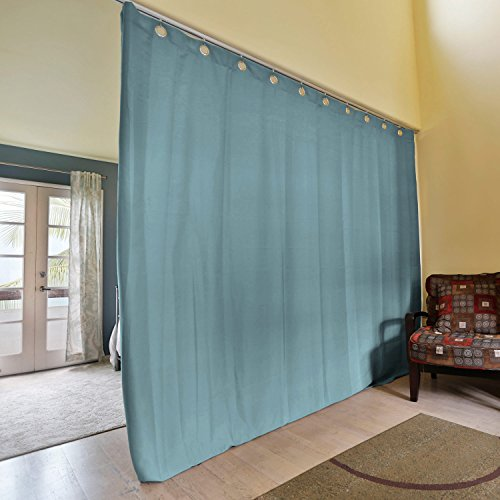 RoomDividersNow Premium Heavyweight Ceiling Track Room Divider Kit - Large B, 9ft Tall x 6ft - 9ft Wide (Seafoam)