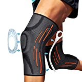 2 Pack Knee Compression Sleeve - Knee Brace for Men & Women with Patella Gel Pads & Side Stabilizers, Knee Support for Working Out, Running, Weightlifting, for Arthritis Joint Pain Relief ACL Size L