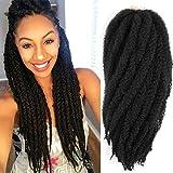 3 Packs Marley Braiding Hair Afro Kinky Marley Braids Hair Extensions Twist Crochet Braids Kanekalon Synthetic Marley Hair 18 Inch (1B#)