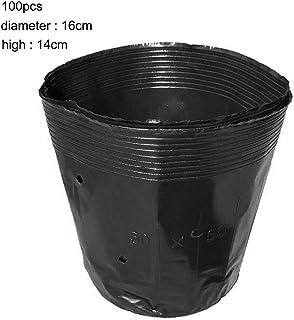 DOMO 100pcs 16*14cm 使い捨て植物保育園バッグ 使い捨て植木鉢 再生可能 栄養バッグ 黒いプラスチック栄養鉢 多肉植物 野菜
