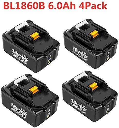 VANTTECH 4 Stück BL1860B Ersatzakku für Makita 18V 6.0Ah Lithium-ion Akku Kompatibel mit Makita BL1860B BL1860 BL1850B BL1850 BL1840B BL1840 BL1845 194205-3 194204-5 LXT-400 mit Indikator
