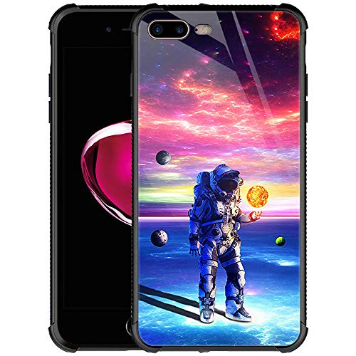 iPhone 8 Plus Case,9H Tempered Glass iPhone 7 Plus Cases for Men Boys,Astronaut'S Planet World Pattern Design Shockproof Anti-Scratch Glass Case for Apple iPhone 7/8 Plus Astronaut'S Planet World