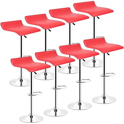 POPSPARK Tabouret de Bar Lot de 8 Design en Cuir Simili et métal chromé, tabourets réglable - Rouge
